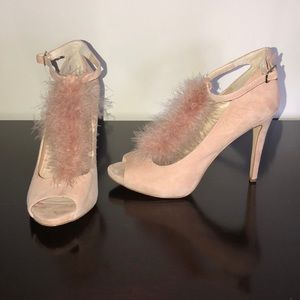 Gorgeous pink suede and feather t-strap heels